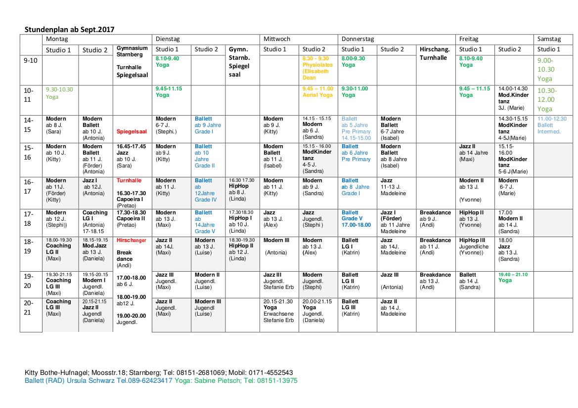 Stundenplan ab September 2017