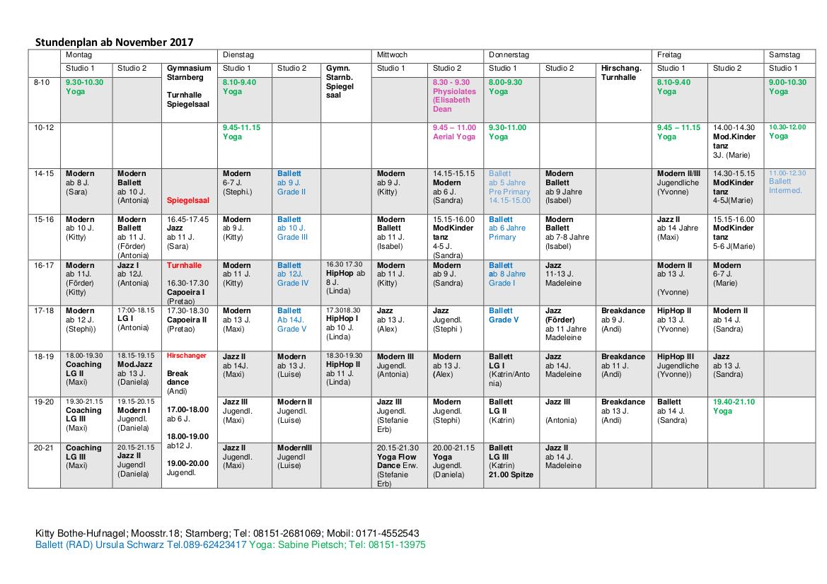 Stundenplan ab November 2017