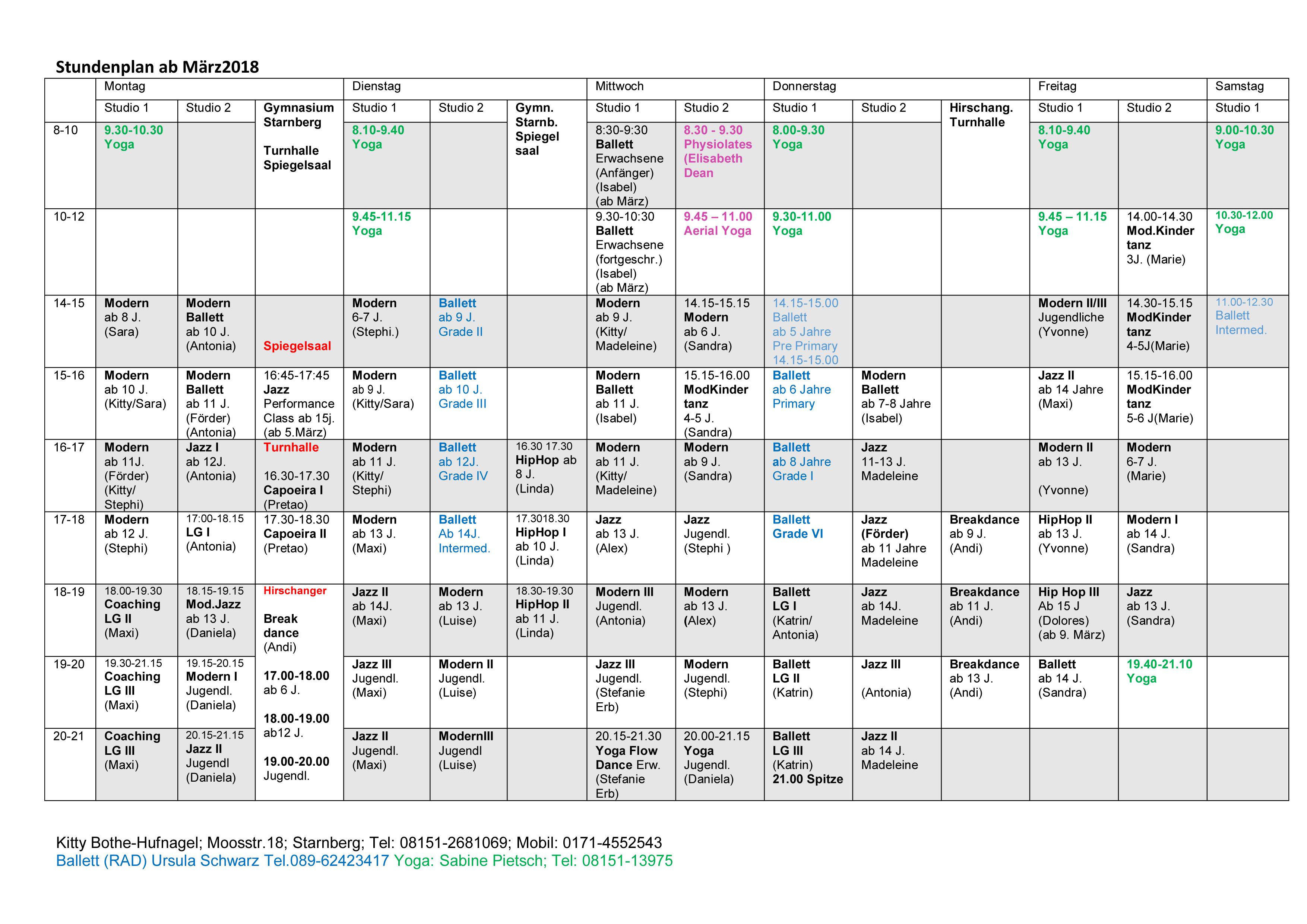 Stundenplan ab März 2018
