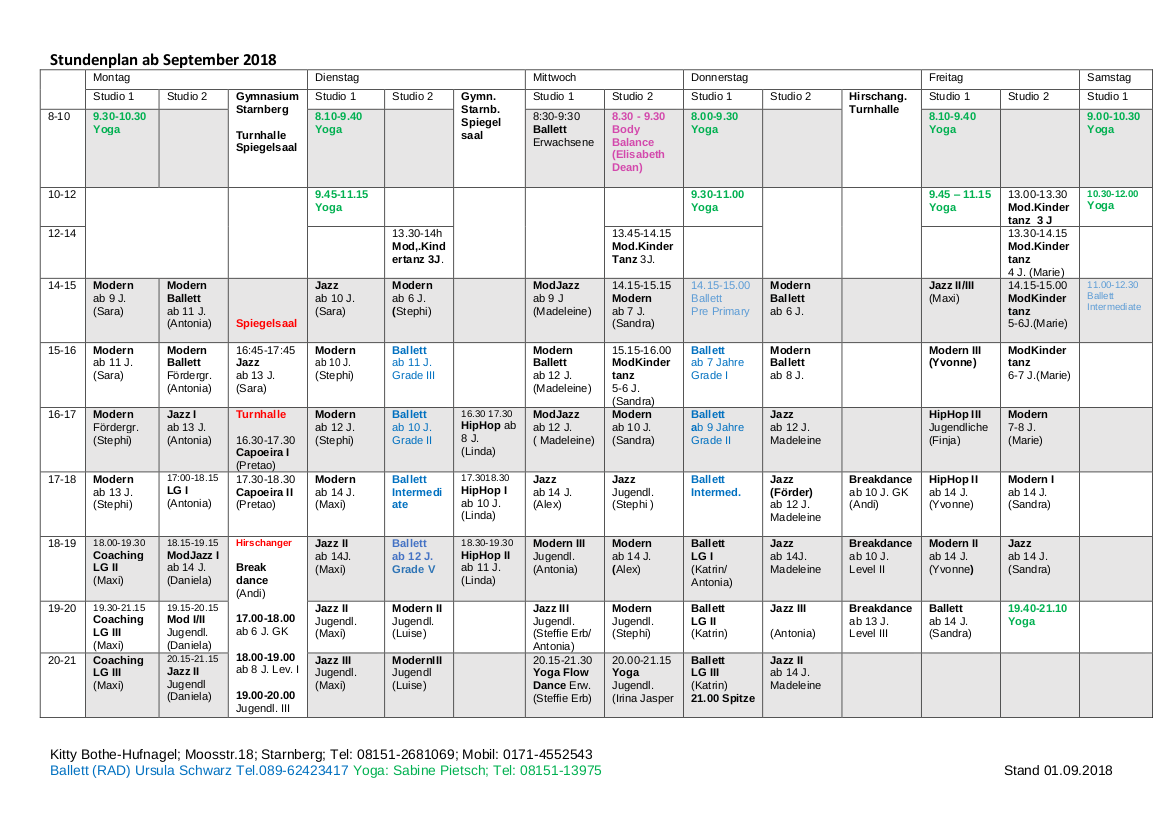 Stundenplan ab September 2018
