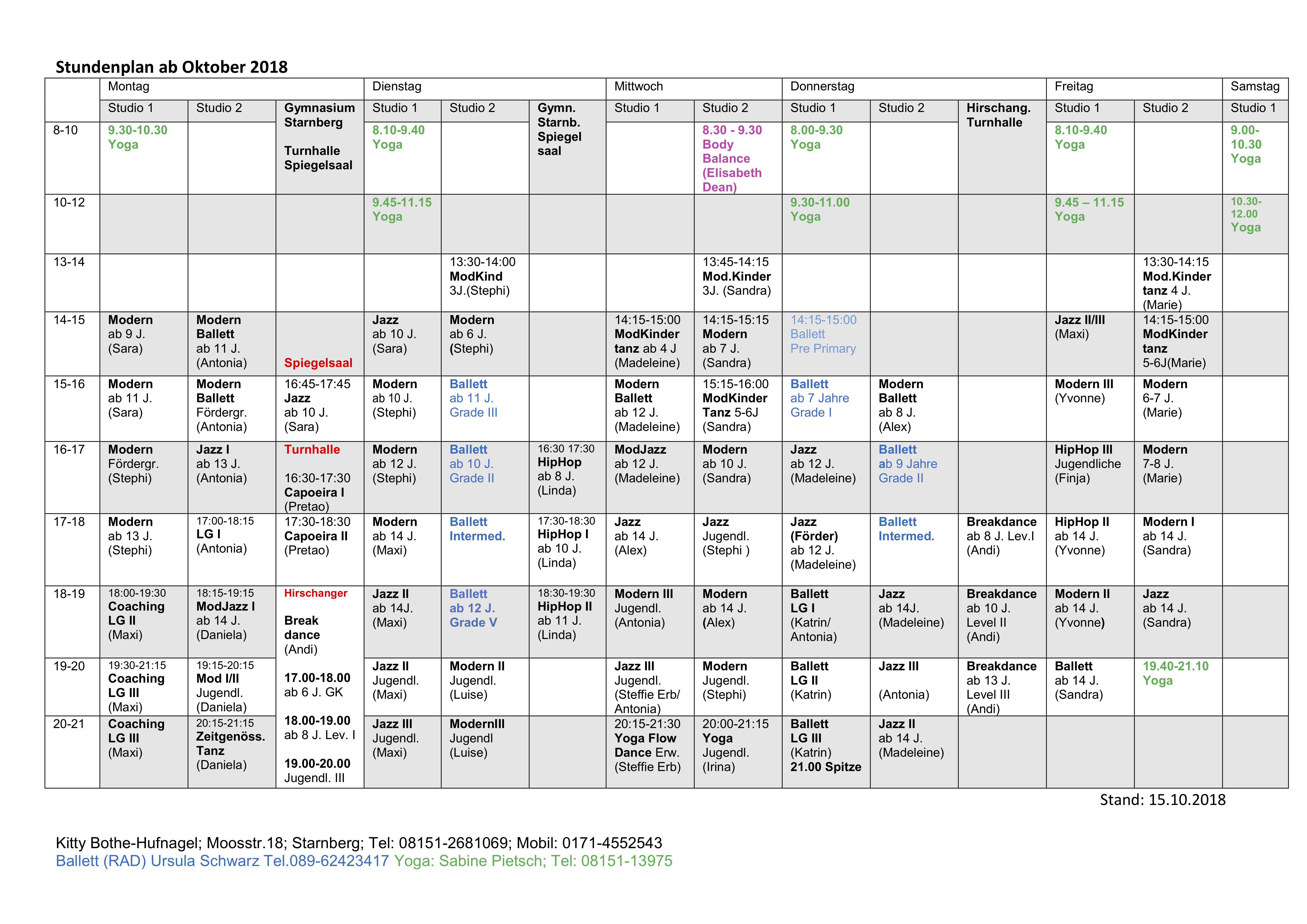 Stundenplan ab Oktober 2018