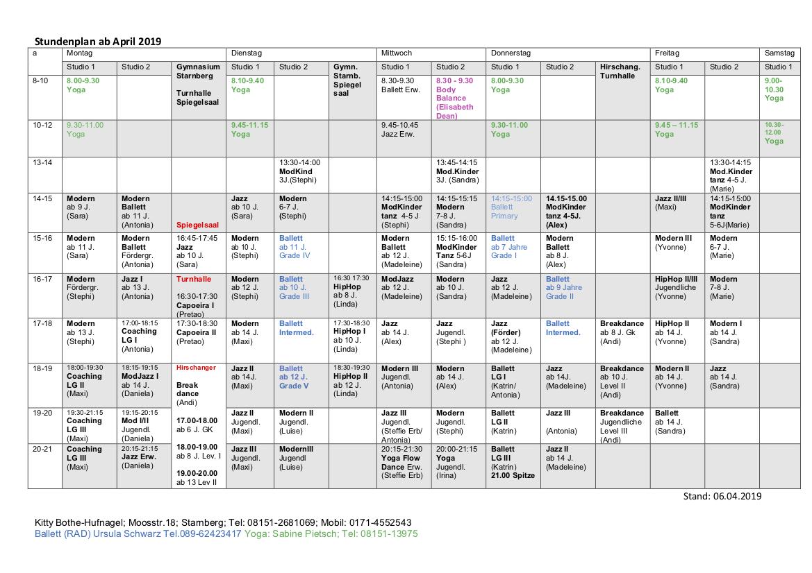 Stundenplan ab April 2019